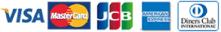 VISA, MasterCard, JCB, Americanexpress, Diners