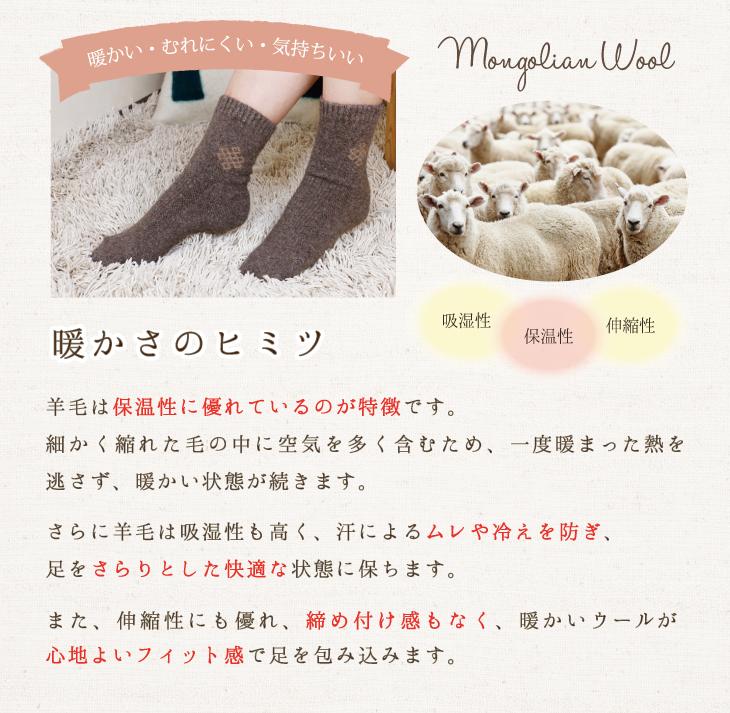 暖かい・むれにくい・気持ちいい「暖かさのヒミツ」羊毛は保温性に優れているのが特徴です。細かく縮れた毛の中に空気を多く含むため、一度暖まった熱を逃さず、暖かい状態が続きます。さらに羊毛は吸湿性も高く、汗によるムレや冷えを防ぎ、足をさらりとした快適な状態に保ちます。また、伸縮性にも優れ、締め付け感もなく、暖かいウールが心地よいフィット感で足を包み込みます。
